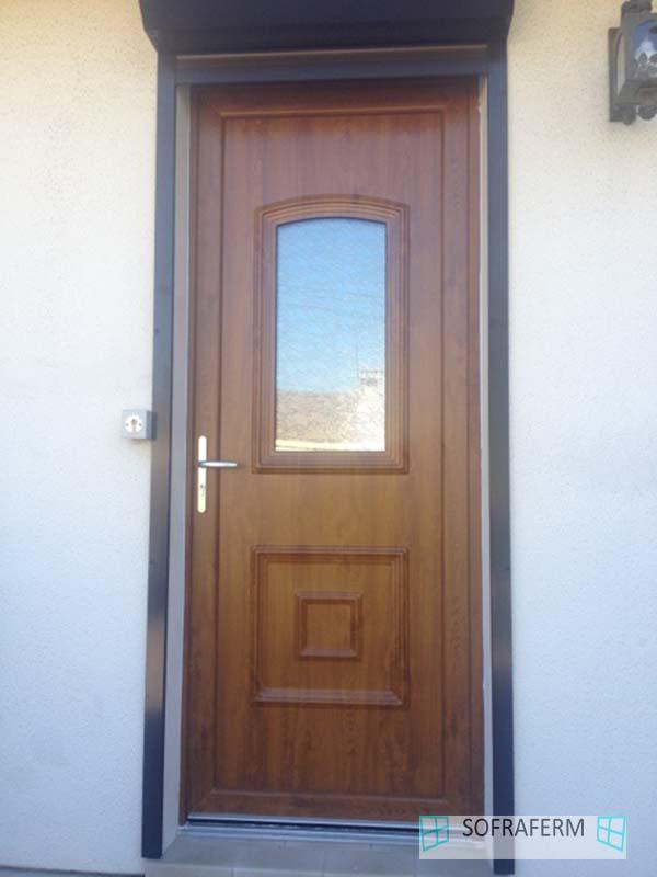 Porte d'entrée en PVC chêne doré Chilly Mazarin