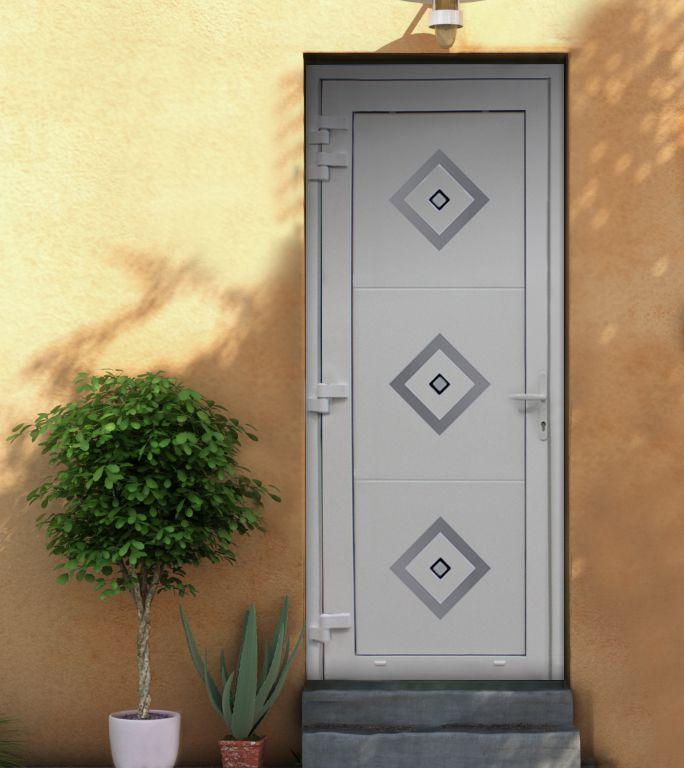 FAME - VANTAL - 1 vantail - blanche motif diagonal